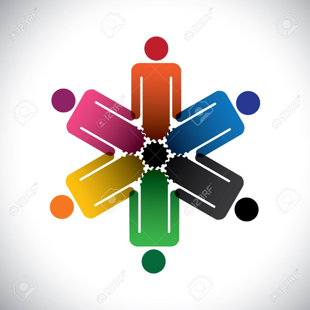 Colorful abstract people community as cog wheels simple graphic colorful abstract people community as cog wheels simple graphic this illustration can also represent sciox Images