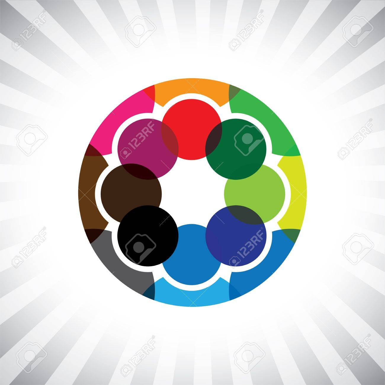 close circle of buddies, pals & friends get-together- graphic. This illustration can also represent children playing,kids having fun,employee meeting,workers unity & diversity, people community Stock Vector - 20787571