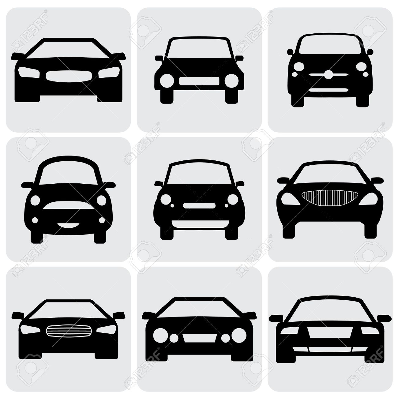 Compact And Luxury Passenger Car Icons Signs Front View Vector