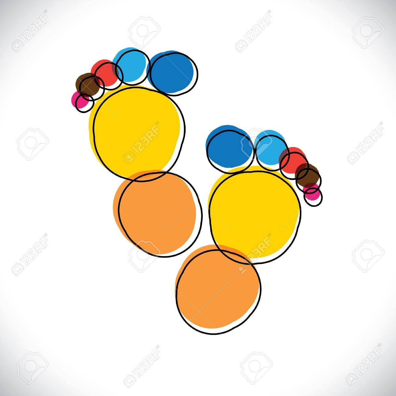 Abstract colorful pair of people's footprint- vector graphic. This illustration can be representative of childhood days of the kid(or baby), or people foot mark or artistic(or creative) person Stock Vector - 21418669