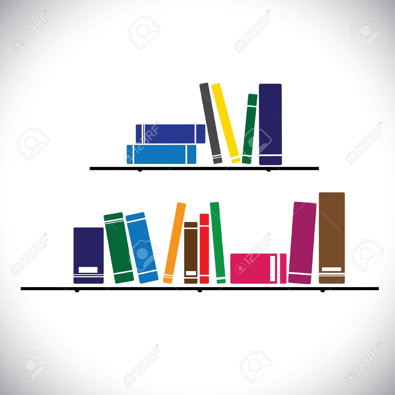 Colección De Libros De Colores Sobre Un Estante De La Biblioteca ...