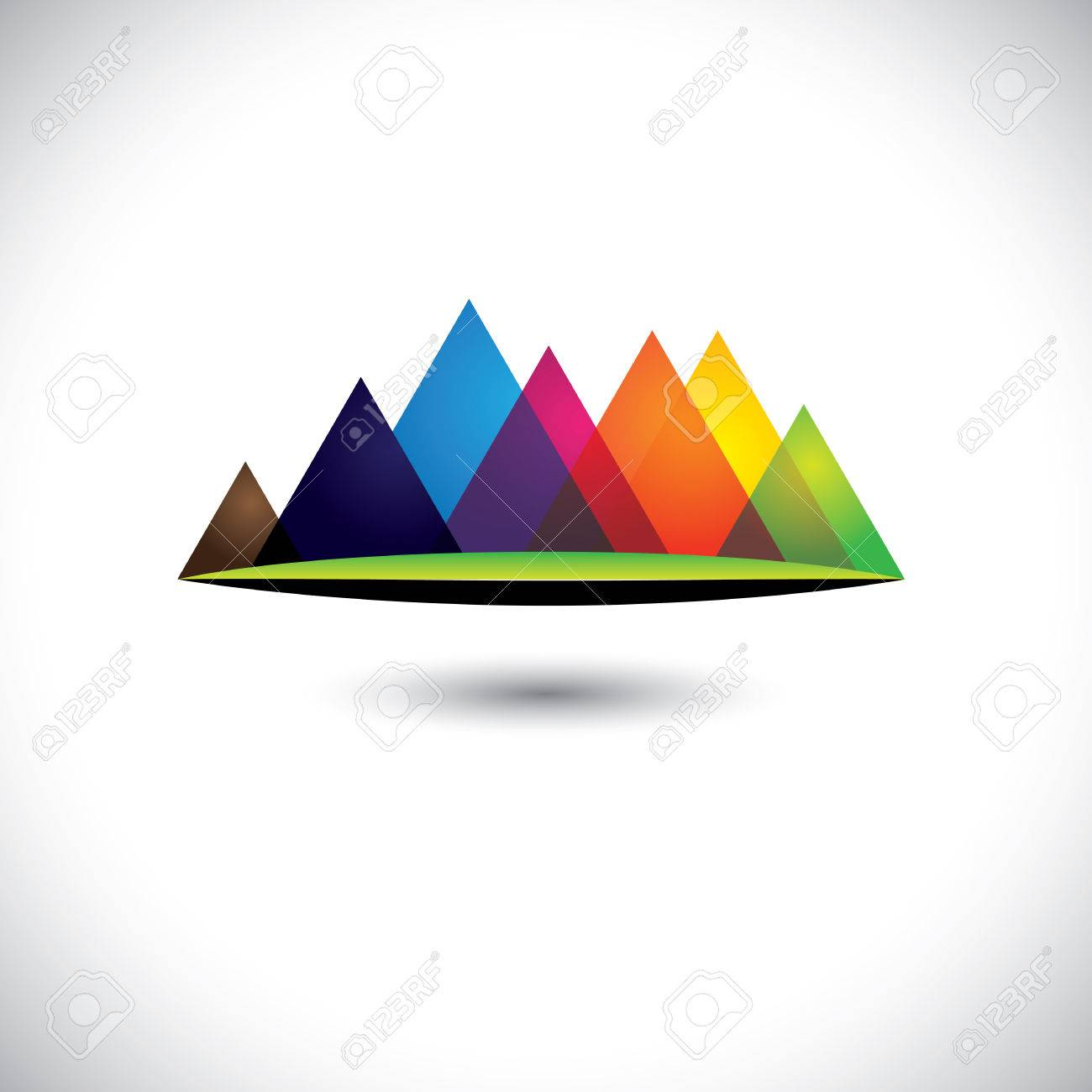 abstract colorful hills & mountain ranges & grassland icon. Stock Vector - 23866483