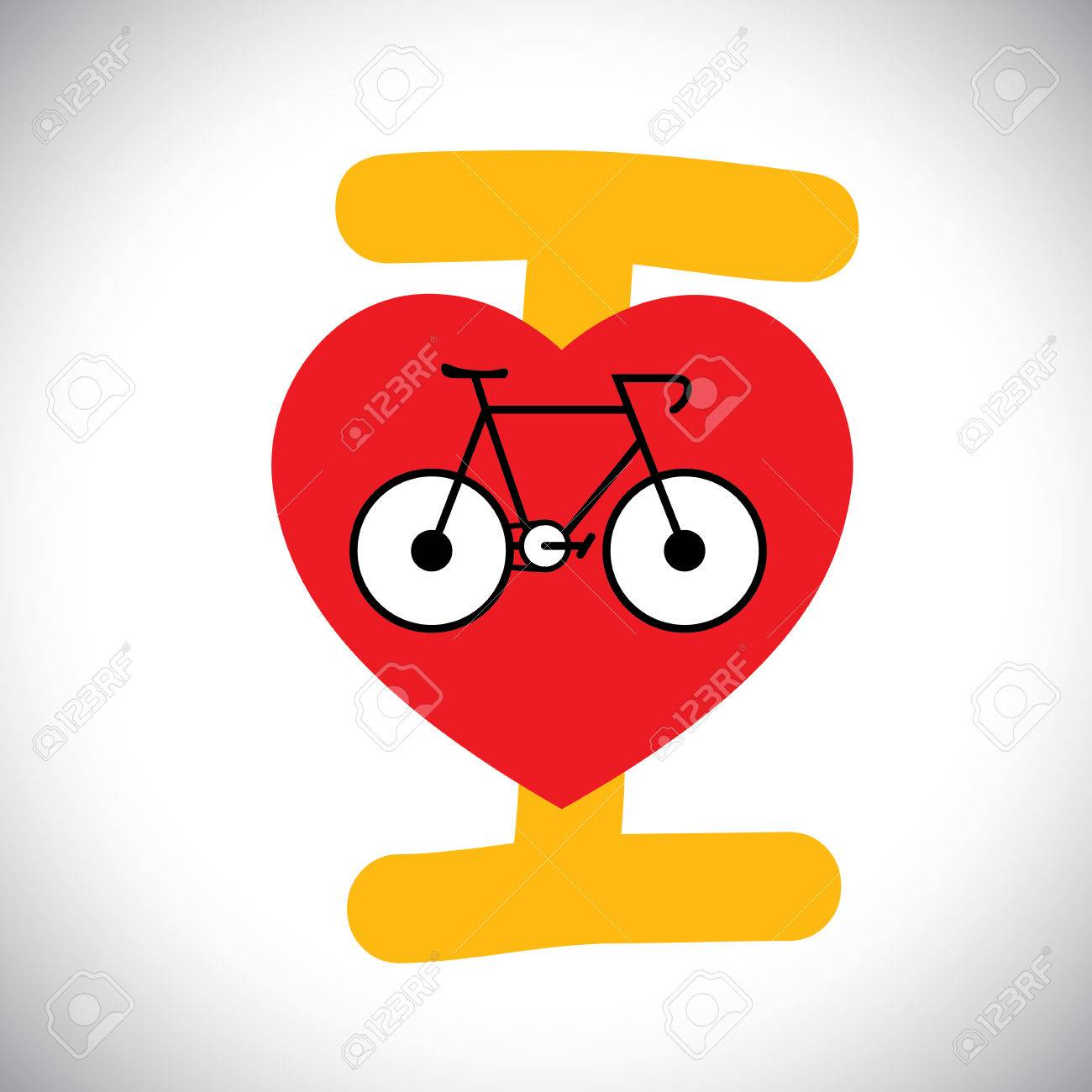 Concept Vector Of Abstract Bike Icon With I Love Cycle Message