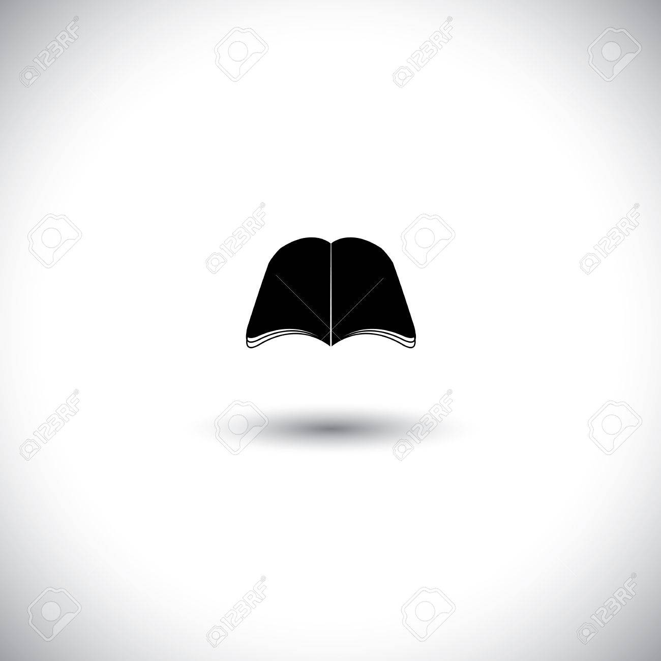 Concept vector icon as silhouette - book sign in black. This graphic illustration also represents magazine, encyclopedia, paperback, empty booklet, ebook, brochure, bible, guide, schooling, etc Stock Vector - 26033461