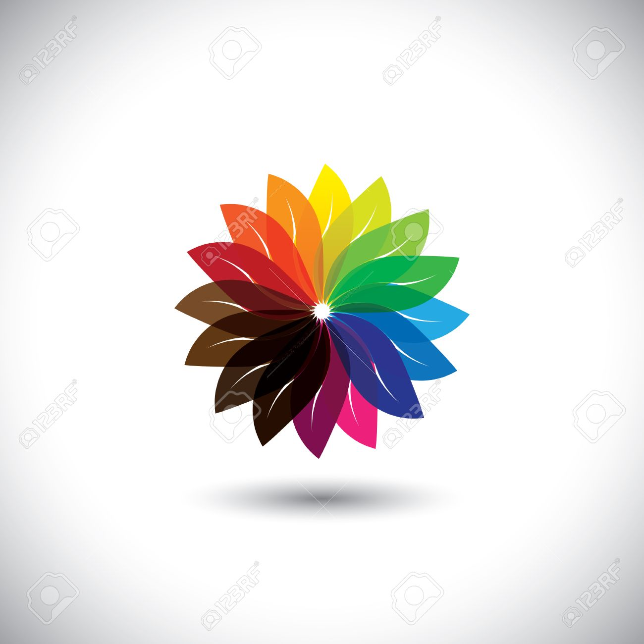 Flower Color Wheel Vector Icon In Colors Like Yellow Orange
