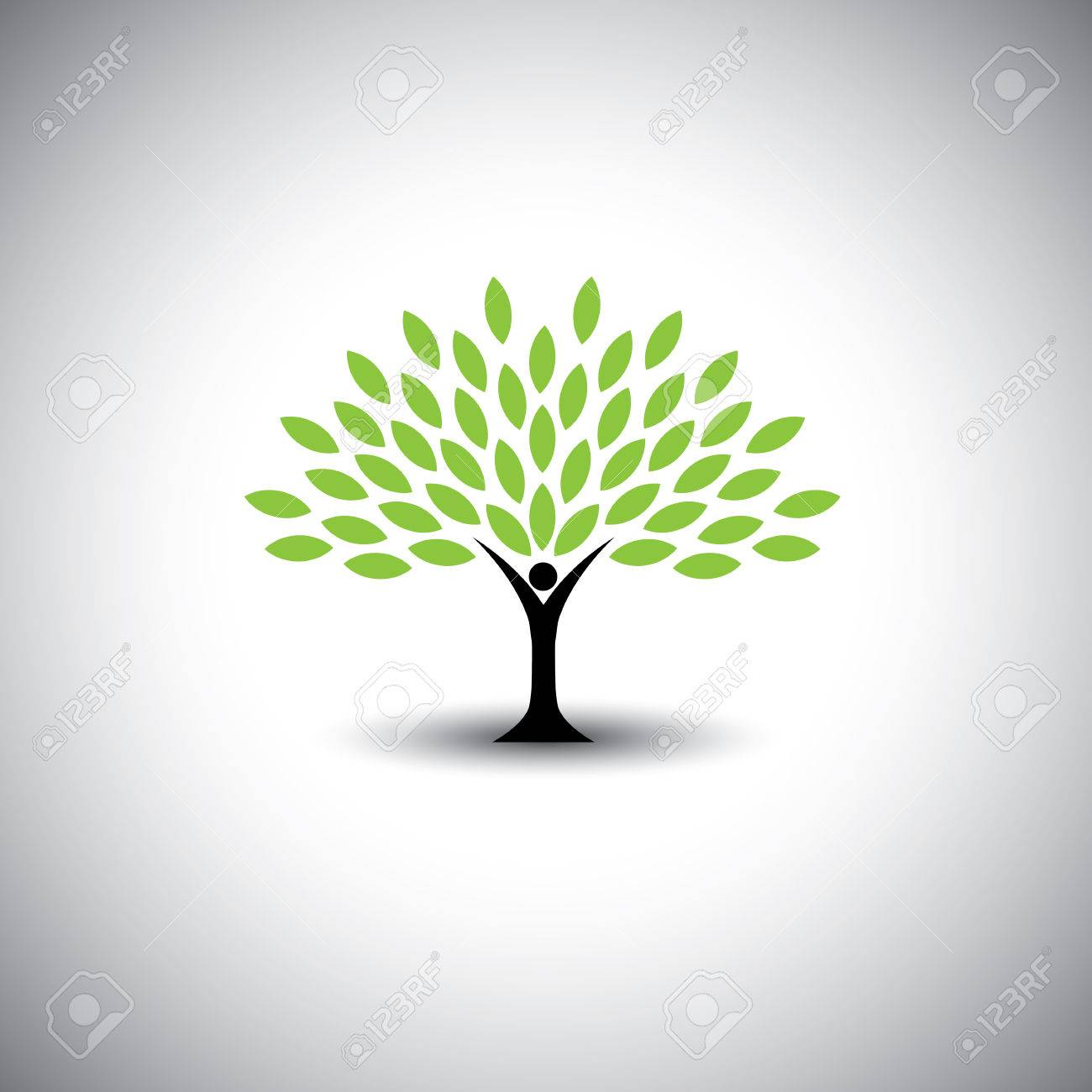 people embracing tree or nature - eco lifestyle concept vector. This graphic also represents harmony, nature conservation, sustainable development, natural balance, development, healthy growth - 36132317