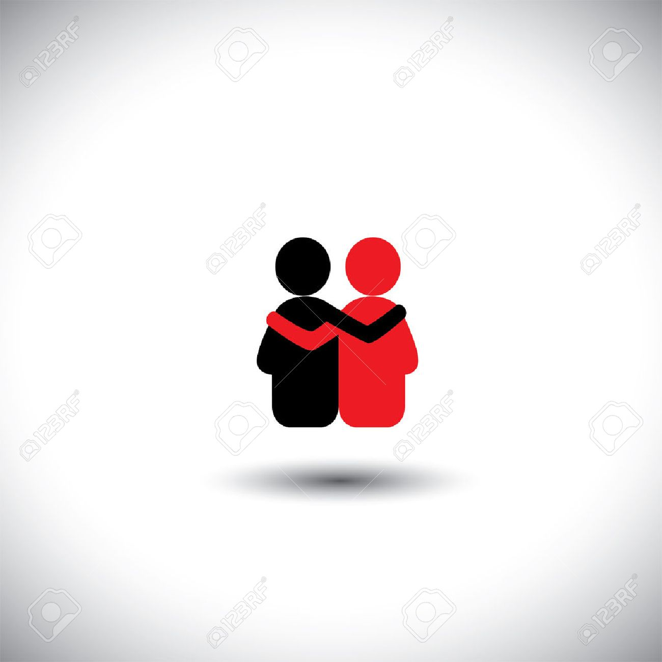 friends hug each other, deep relationship & bonding - vector icon. This also represents reunion, sharing, love, emotions, human touch, friendly embrace, support, care, kindness, empathy, compassion - 37068747