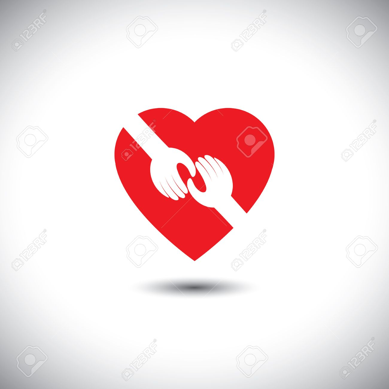 Vector Icon Of Two Hands Touching With Heart Concept Of Love