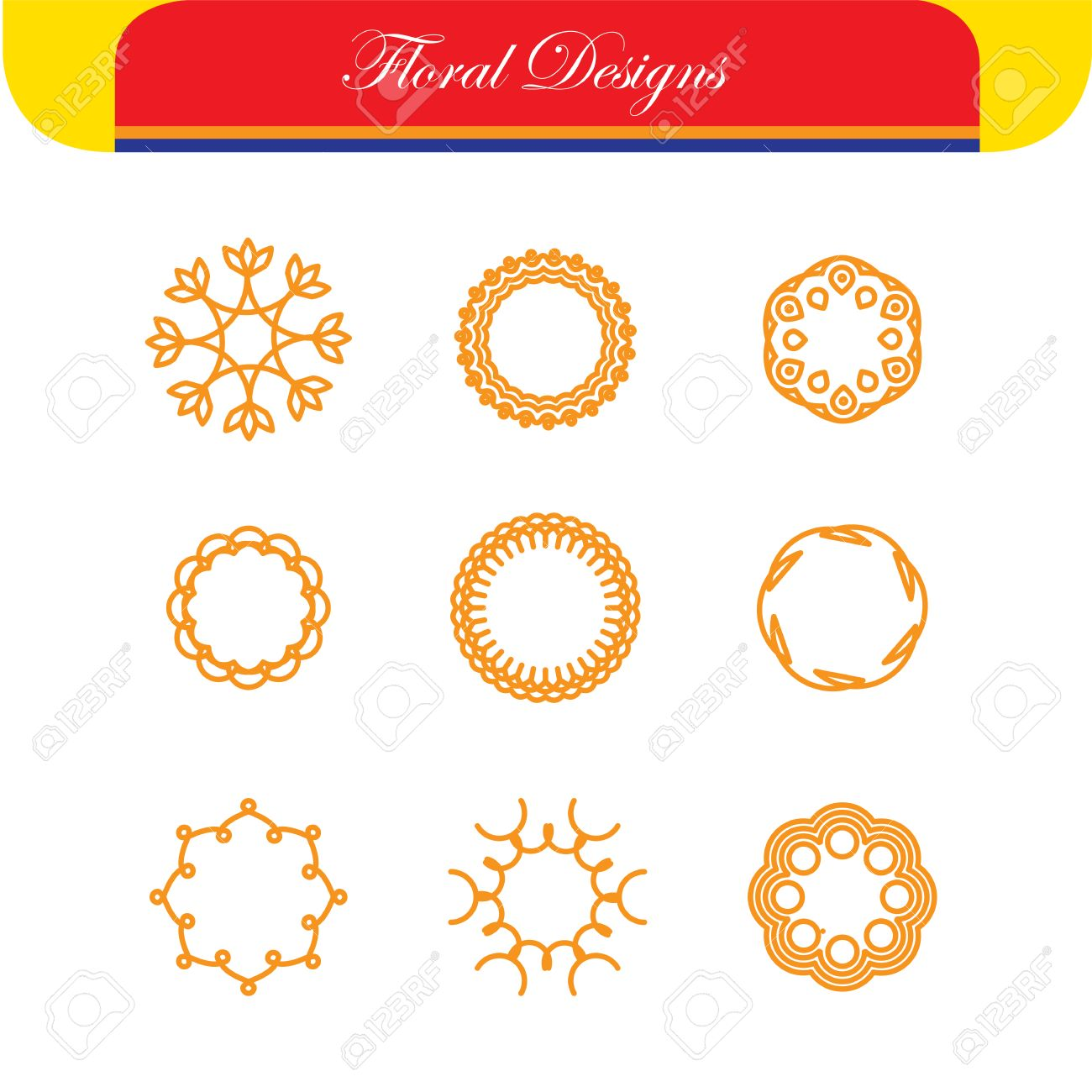 floral outlines line badges vector designs abstract hipster