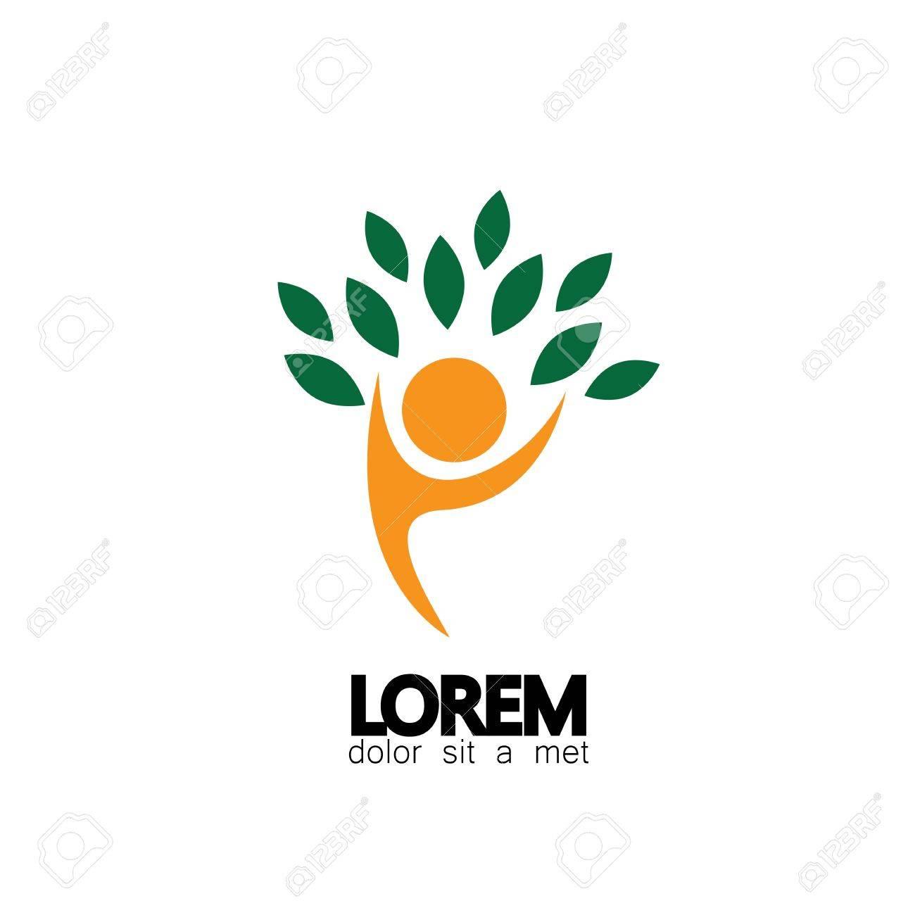 Baum Person Logo Symbol Vektor öko Freundlich Grün Umarmen Umarmen