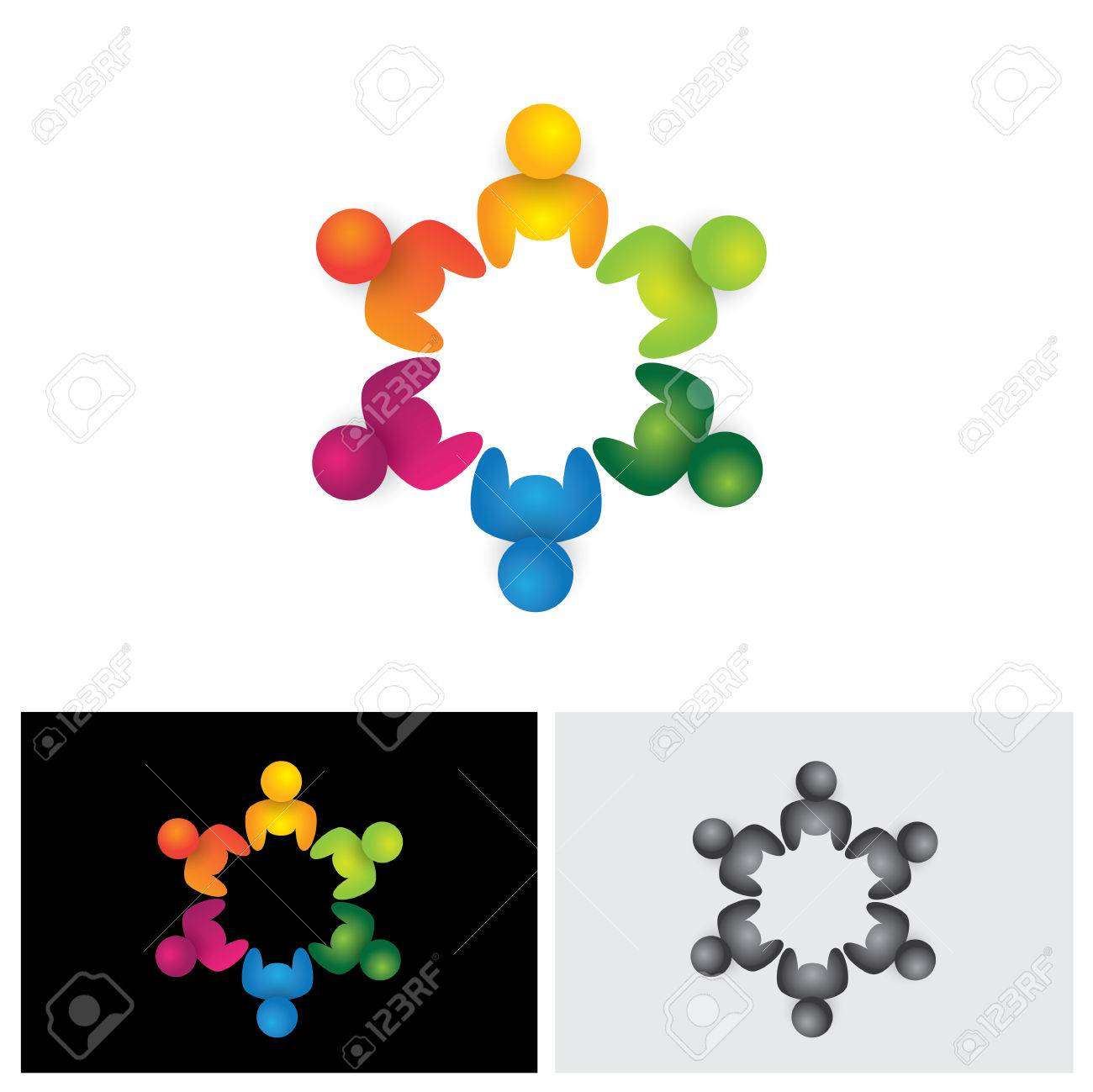 people in circle community or team of kids employees vector community or team of kids employees vector icon this graphic illustration also represents unity teamwork leadership leader qualities joy