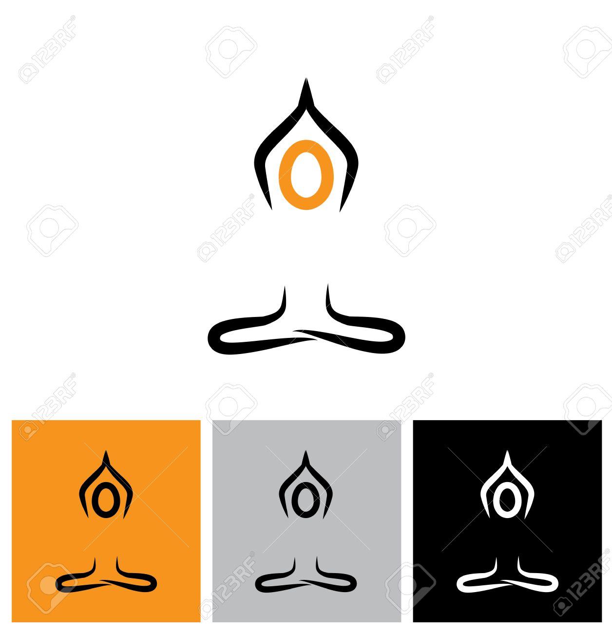 Symbol Person Vektor Logo Zu Tun Meditation Und Yoga Dies Stellt
