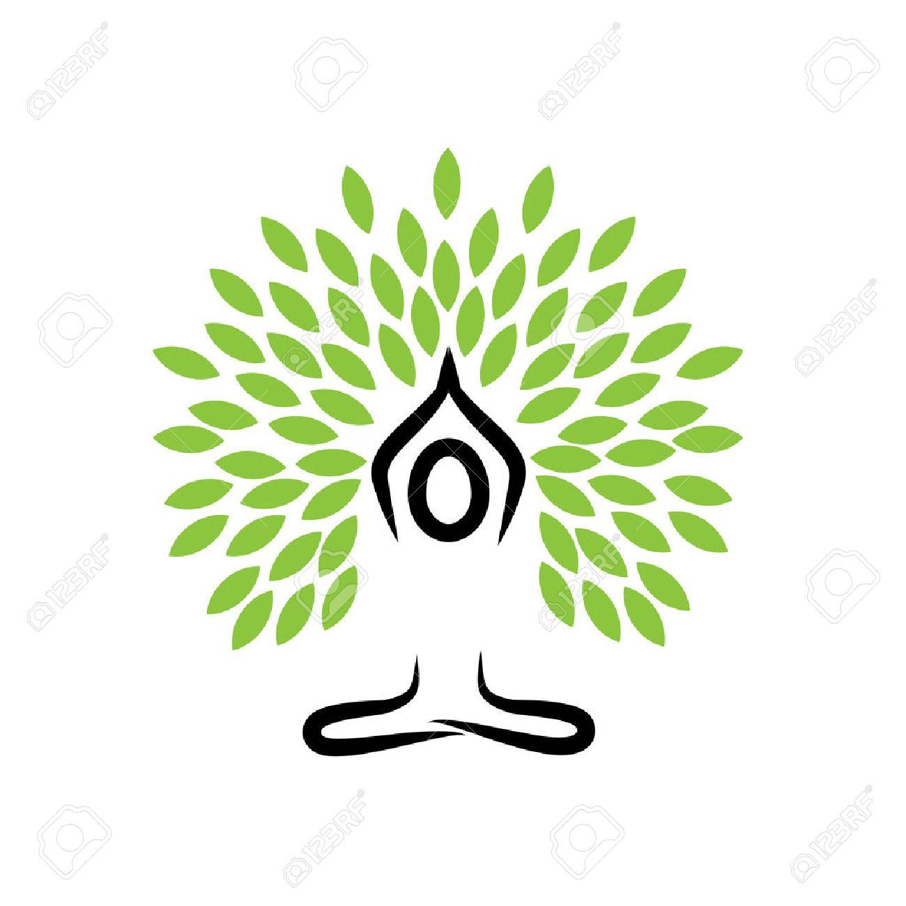 people life tree doing meditation yoga and prayers vector