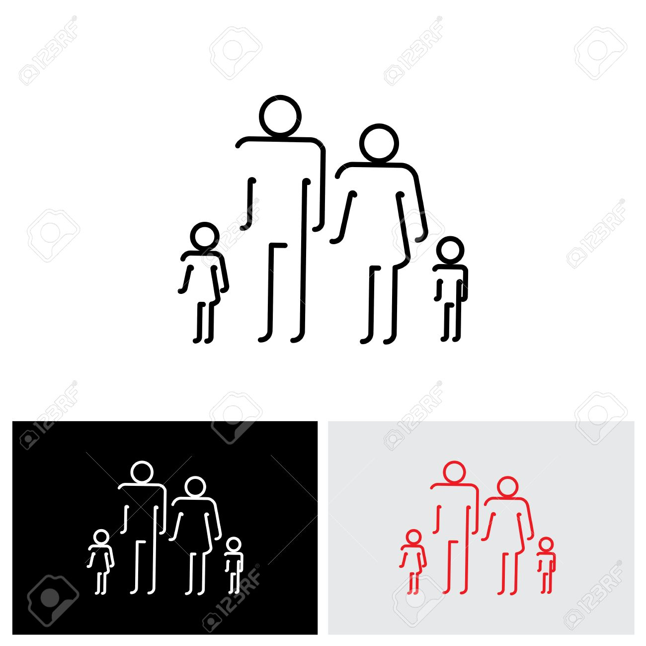 Family Of Four People Abstract Icons Using Abstract Line Drawing