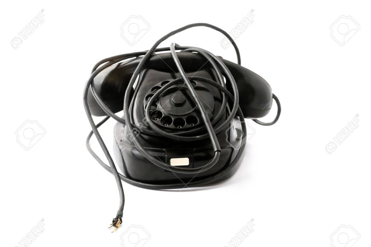 Old Phone With Broken Wire, Without Connection With Outer World ...