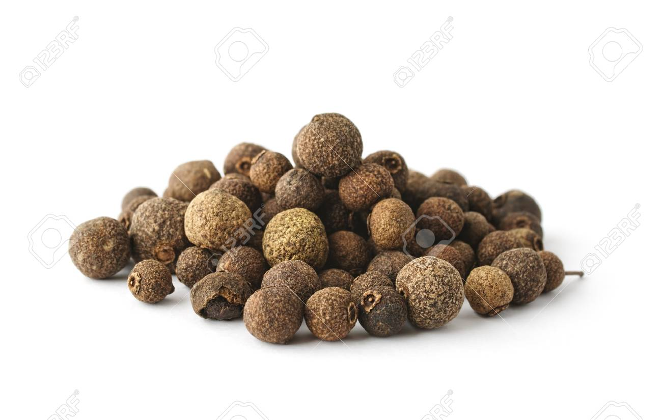 Pile of aromatic allspice isolated on white background Stock Photo - 12829424