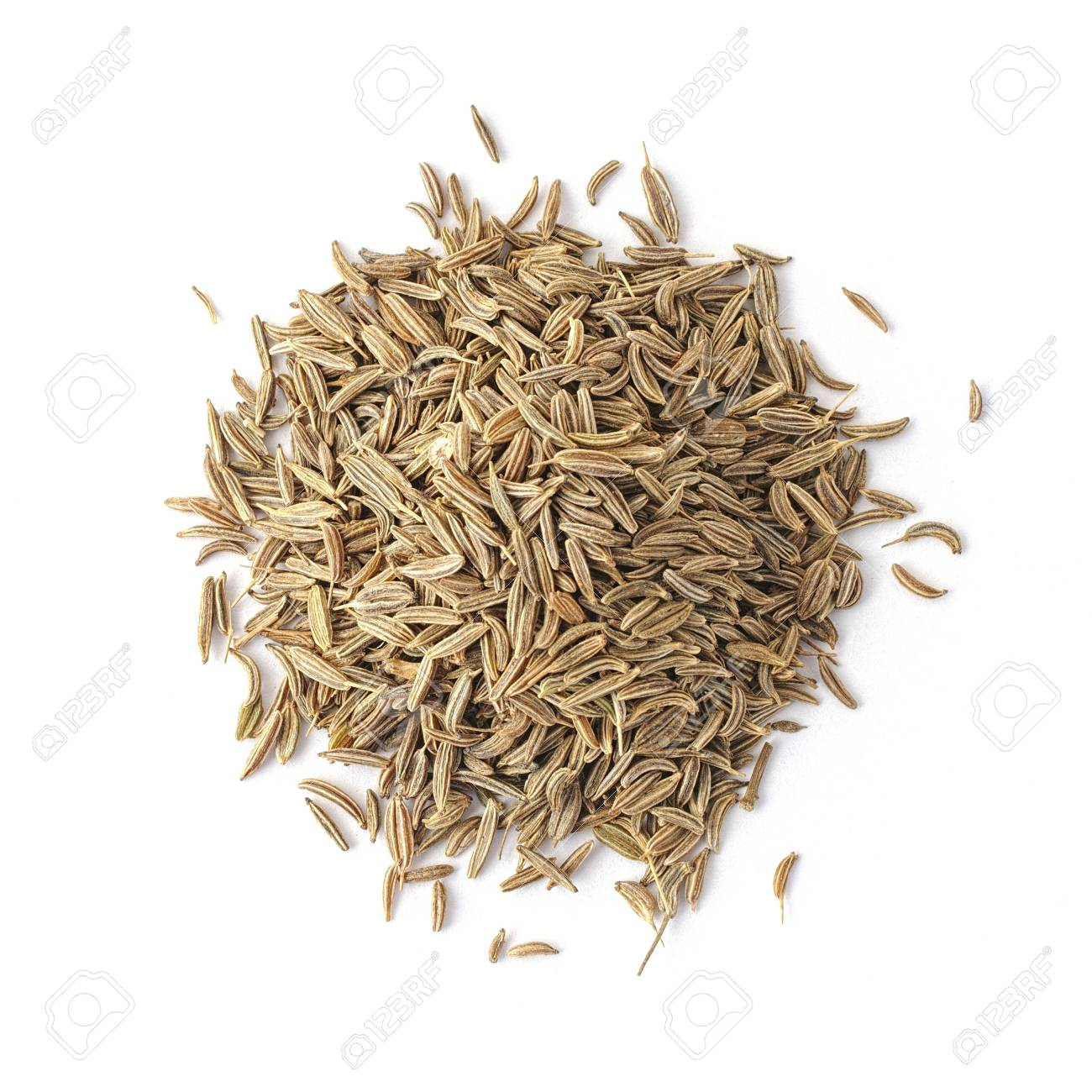 Pile of cumin seeds captured from above isolated on white Stock Photo - 14980063
