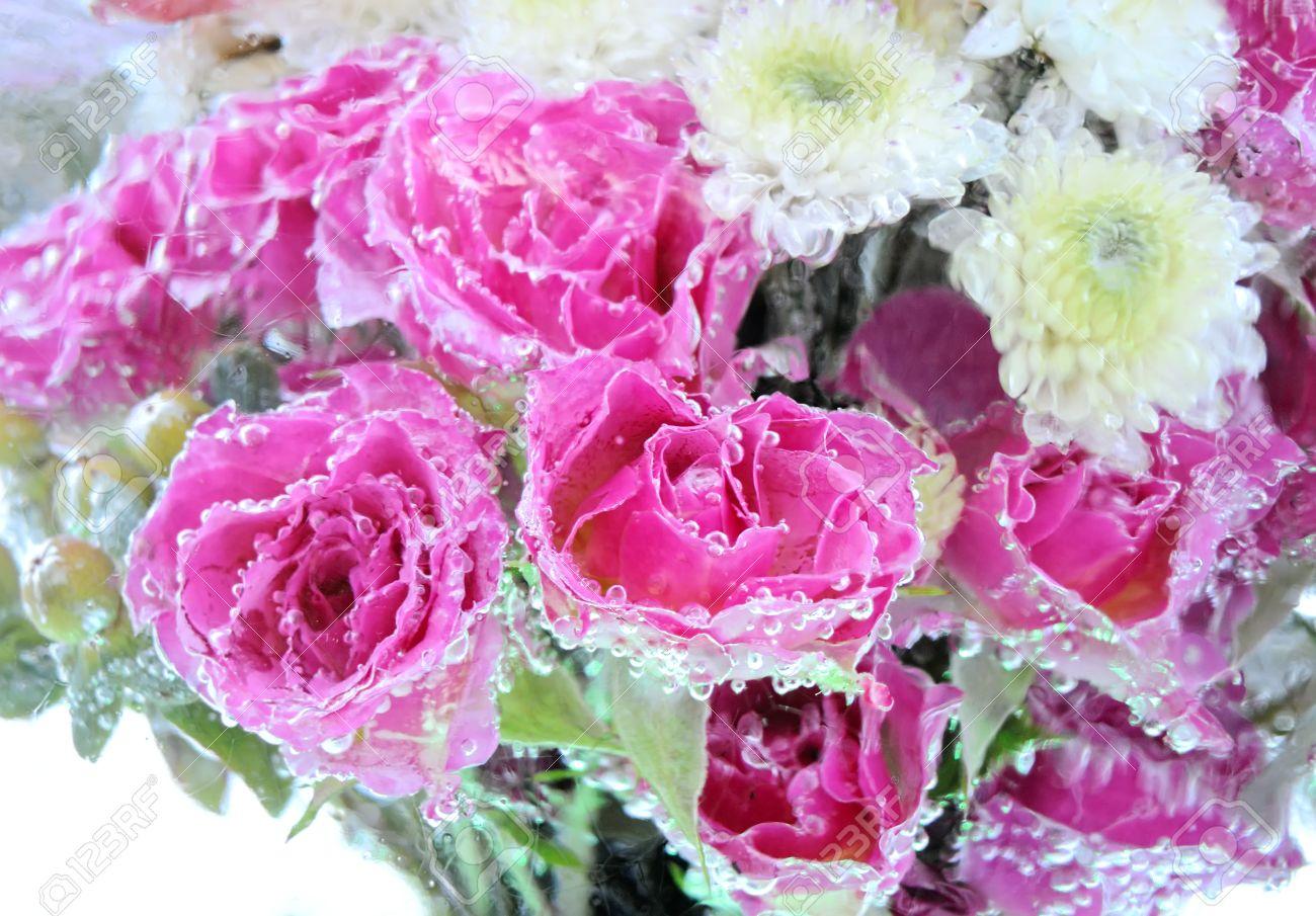 美しい花ブーケ氷抽象的な背景が壁紙でフリーズ の写真素材 画像素材