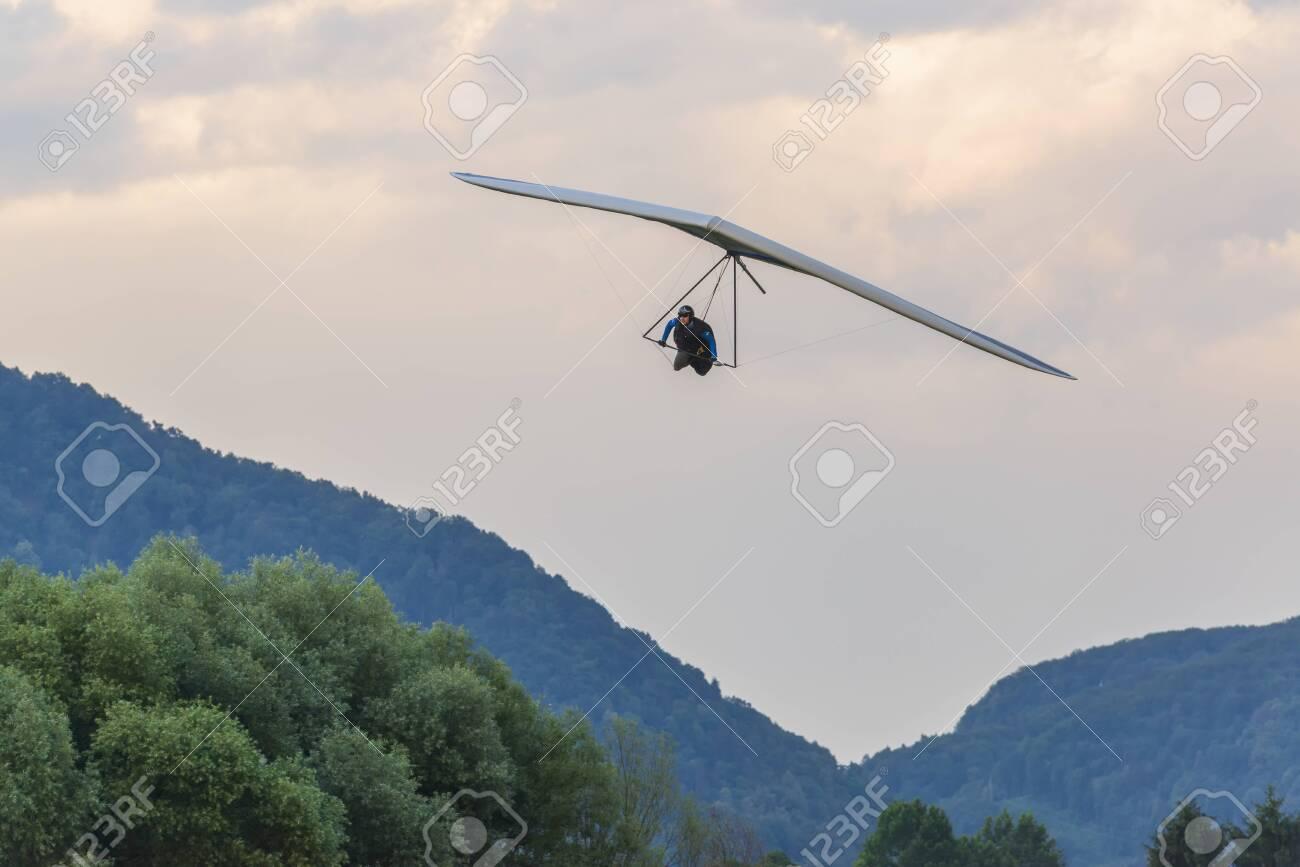 2018-06-30 Tolmin, Slovenia  Hang glider pilot approaches landing