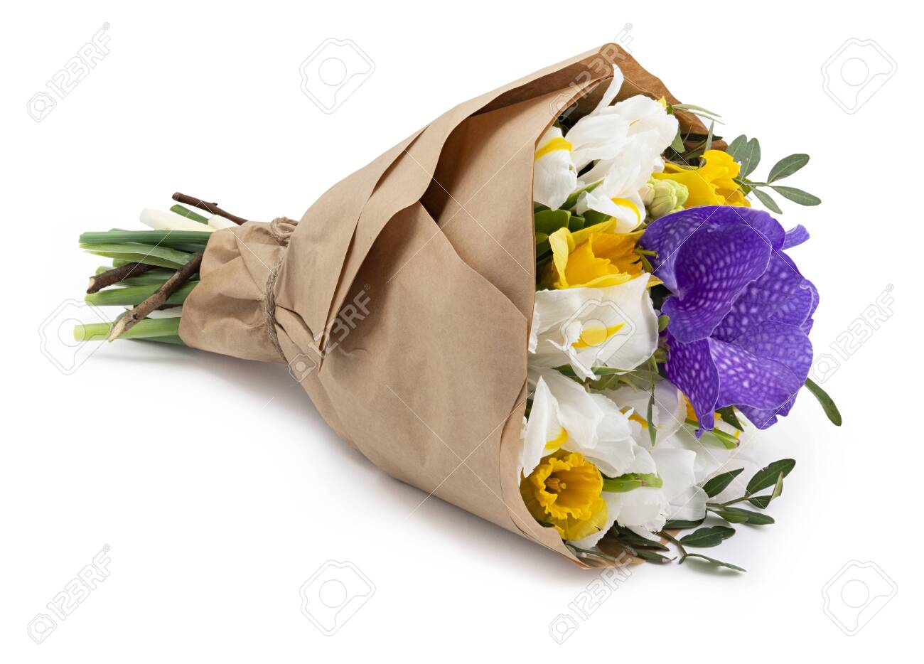 Beautiful flowers bouquets wrapped in a craft paper as a gift. Isolated on white background with shadow - 140446163