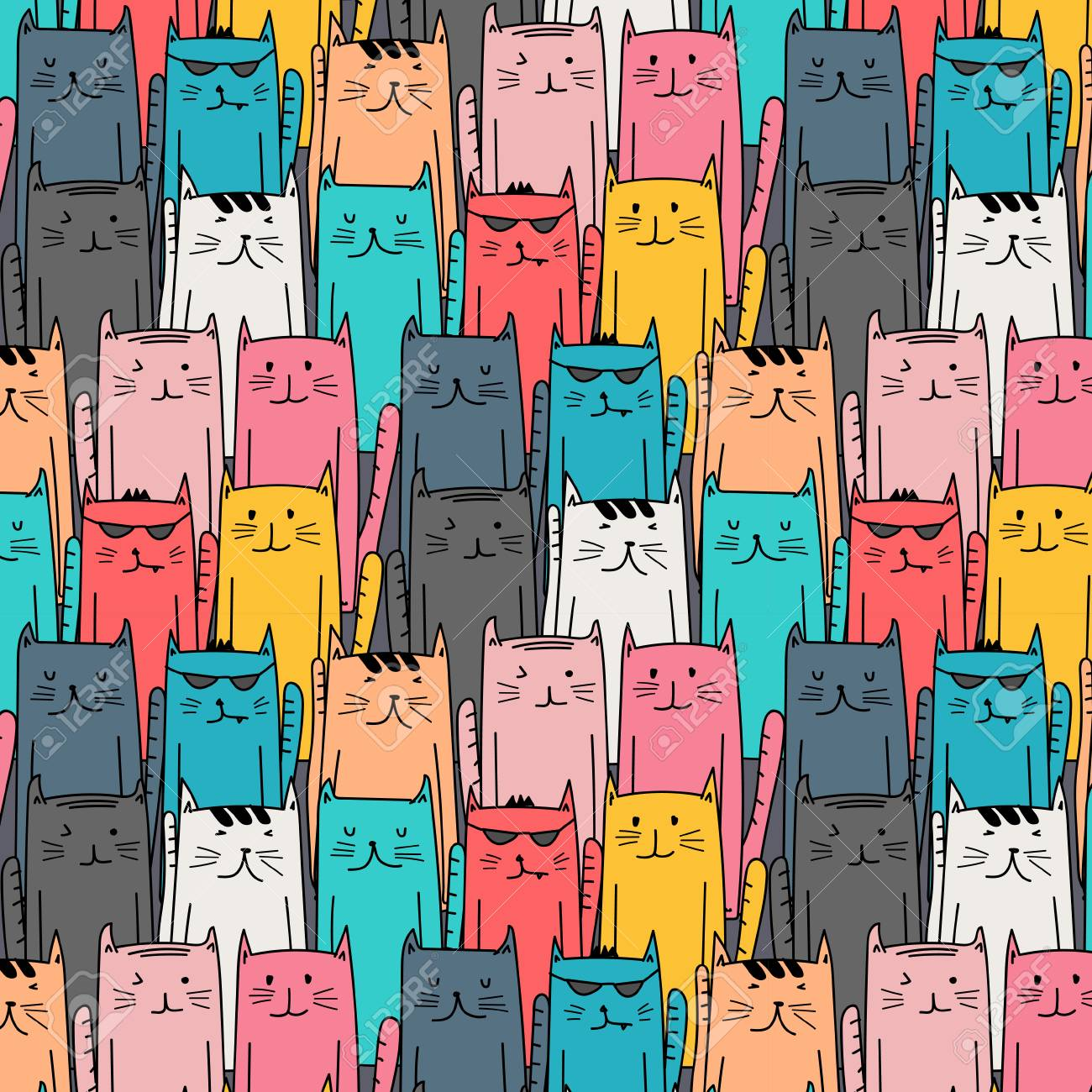 Colorful Hand Drawn Cats Vector Pattern Doodle Art Royalty Free