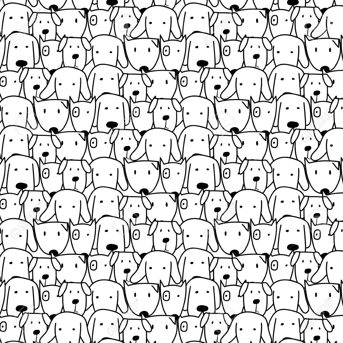 Hand Drawn Cute Dog Vector Pattern Doodle Art