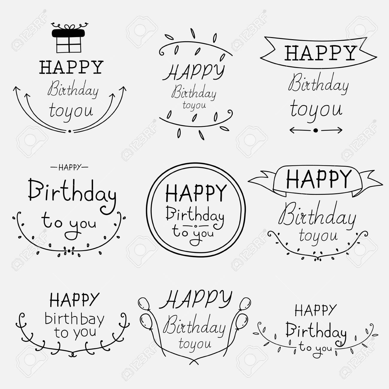 手描きお誕生日おめでとう表記セット ベクトルの図 のイラスト素材 ベクタ Image