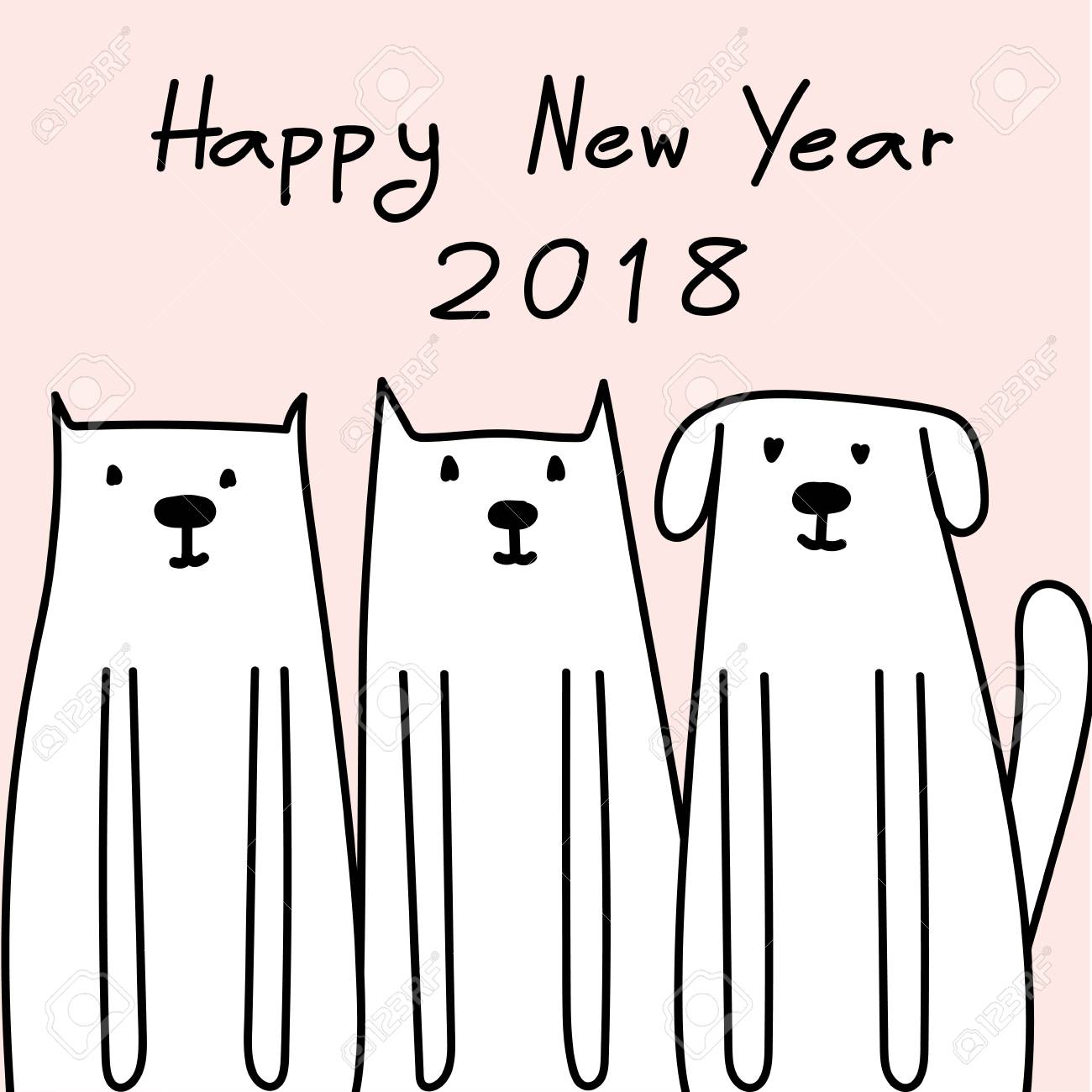 Happy New Year 2018 Card With Cute Dog Royalty Free Cliparts