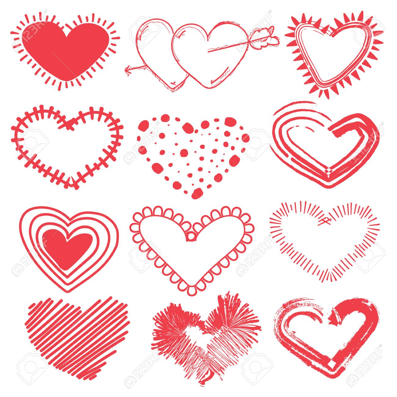 Doodles Set Of Valentines Day Hearts Hand Drawn Sketch Vector