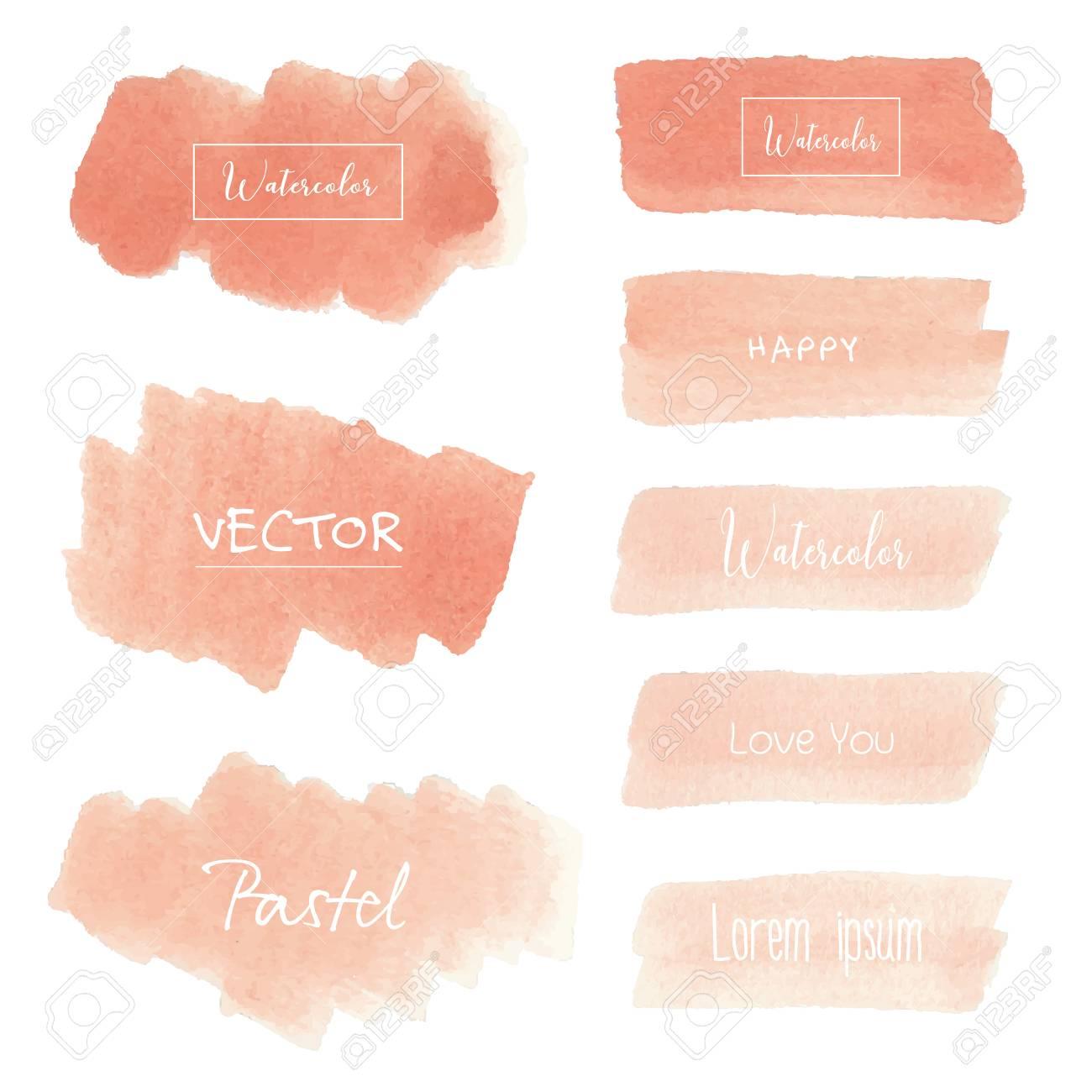 Peach watercolor background, Pastel watercolor, Vector illustration. - 110576243