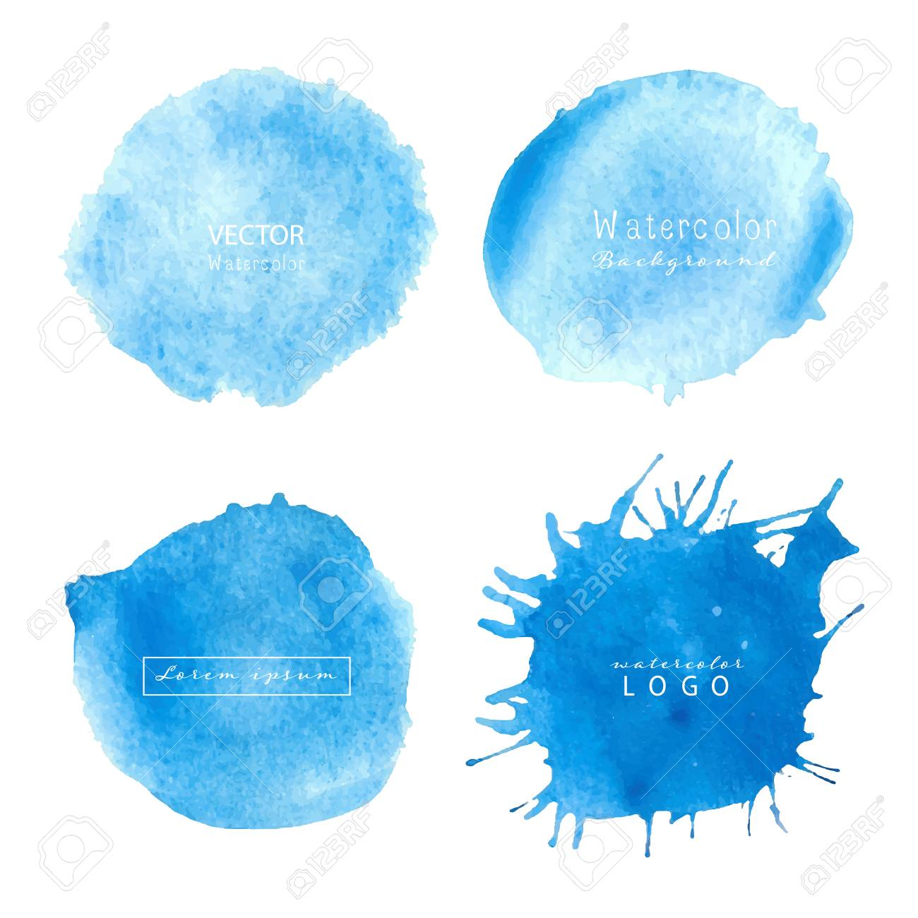 Blue Watercolor Circle Set On White Background Watercolor Logo
