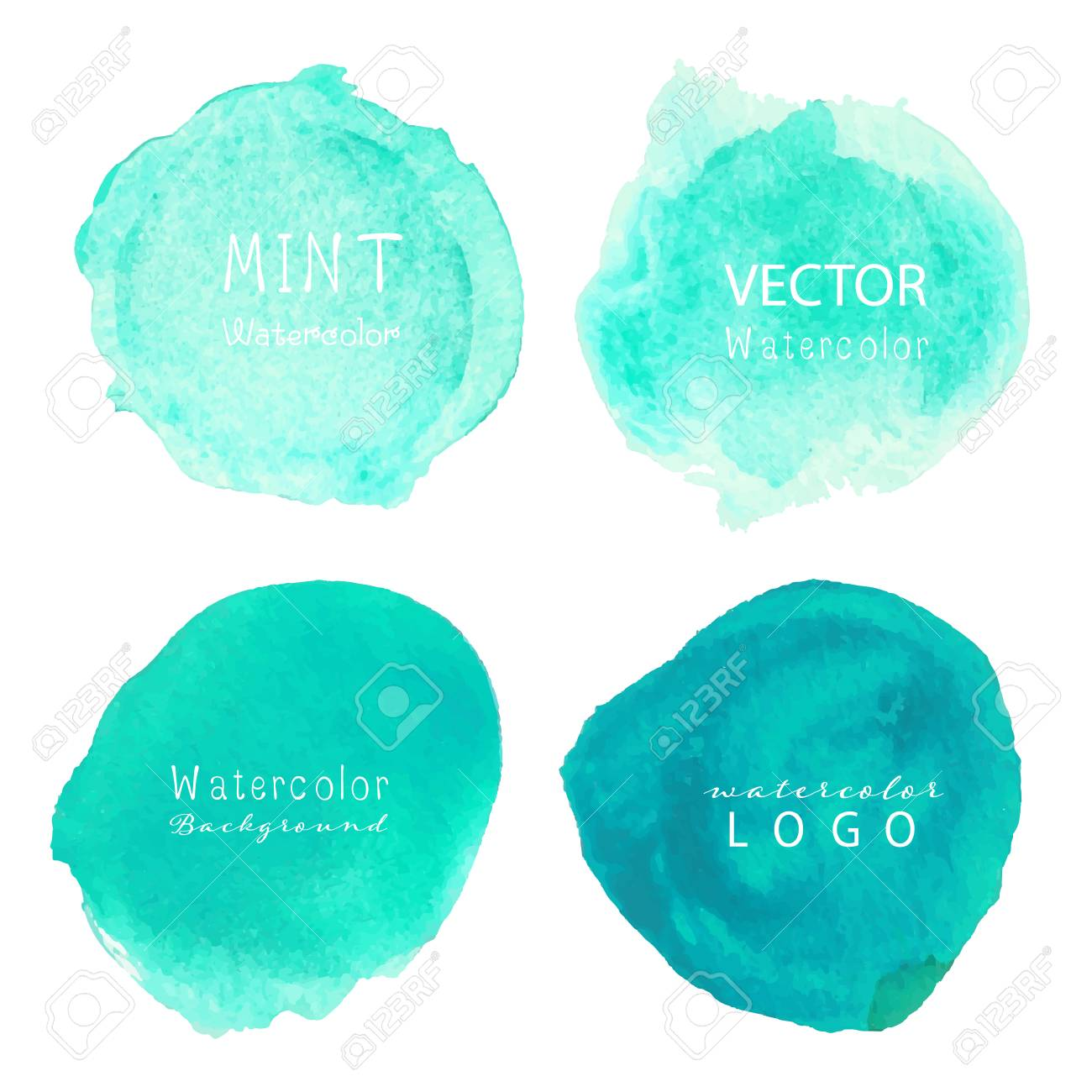 Mint Watercolor Background Pastel Watercolor Logo Vector Illustration