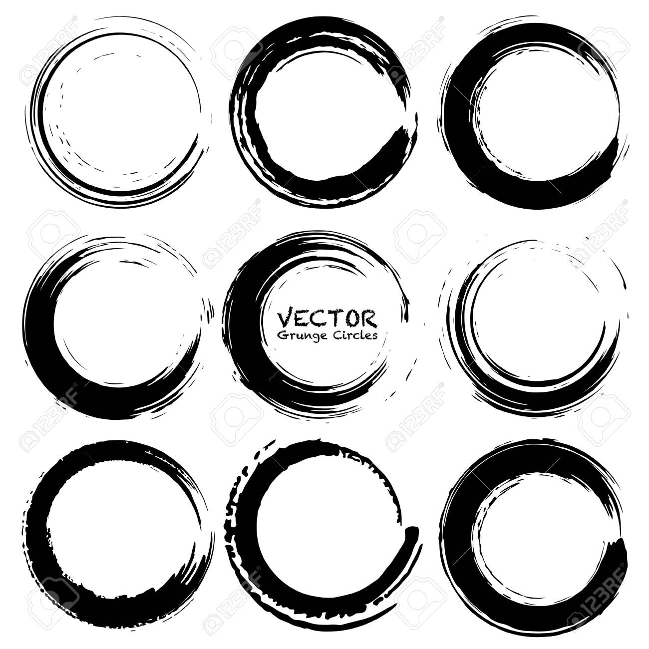Set of grunge circles, Grunge round shapes, Vector illustration. - 123853763