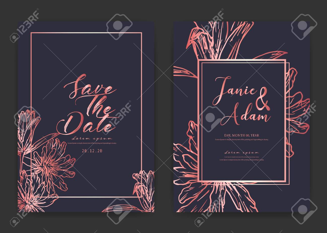 Save The Date Wedding Card. Wedding Invitation Cards With Hand.. Royalty  Free Cliparts, Vectors, And Stock Illustration. Image 127123020.