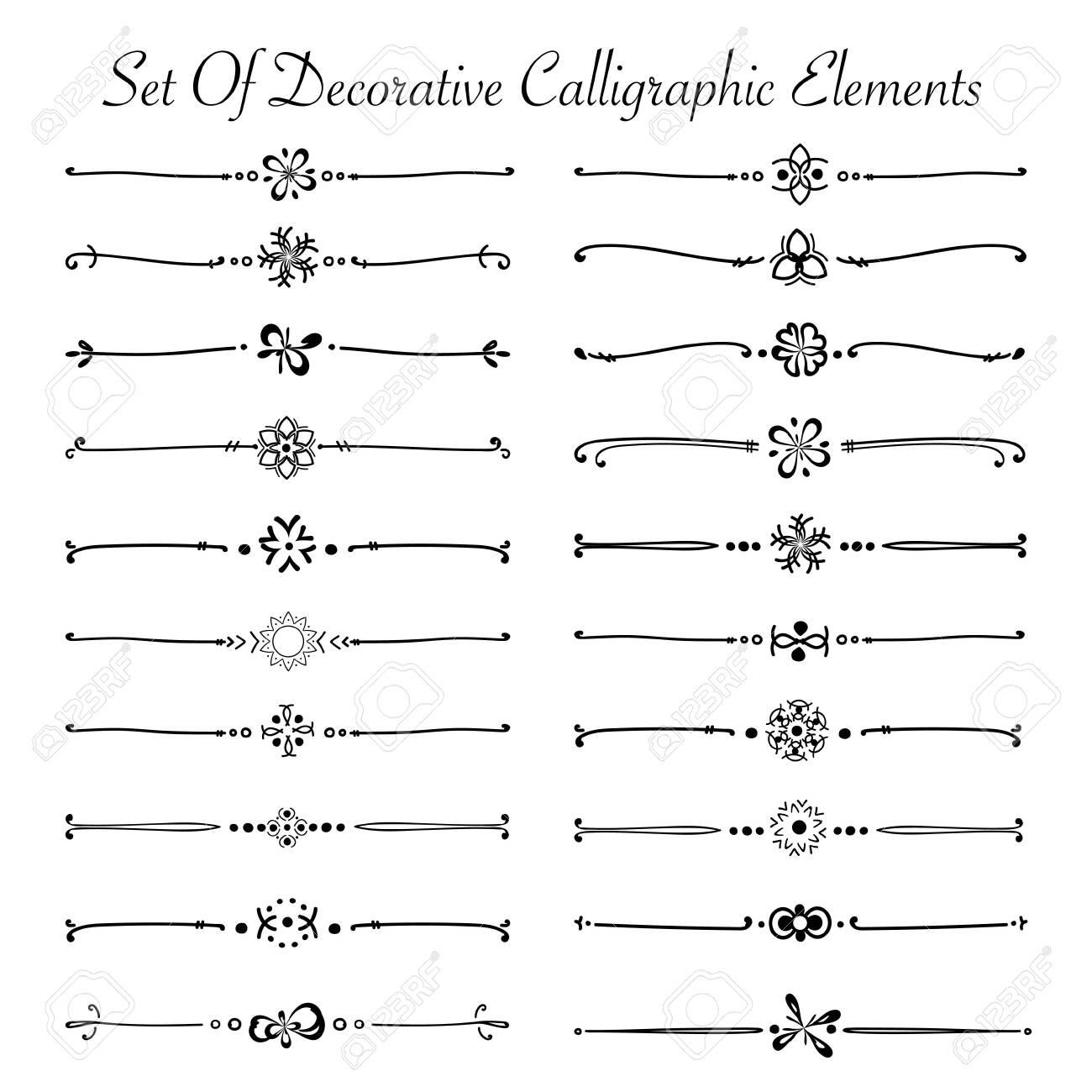 Set Of Decorative Calligraphic Elements For Decoration. Handmade Vector Illustration. - 138645518