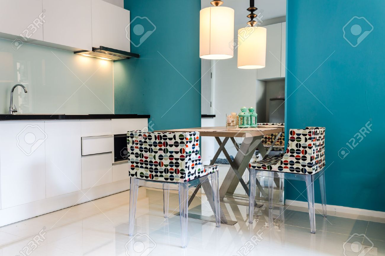 Modern Small Kitchen Section In Apartment. Stock Photo, Picture And ...