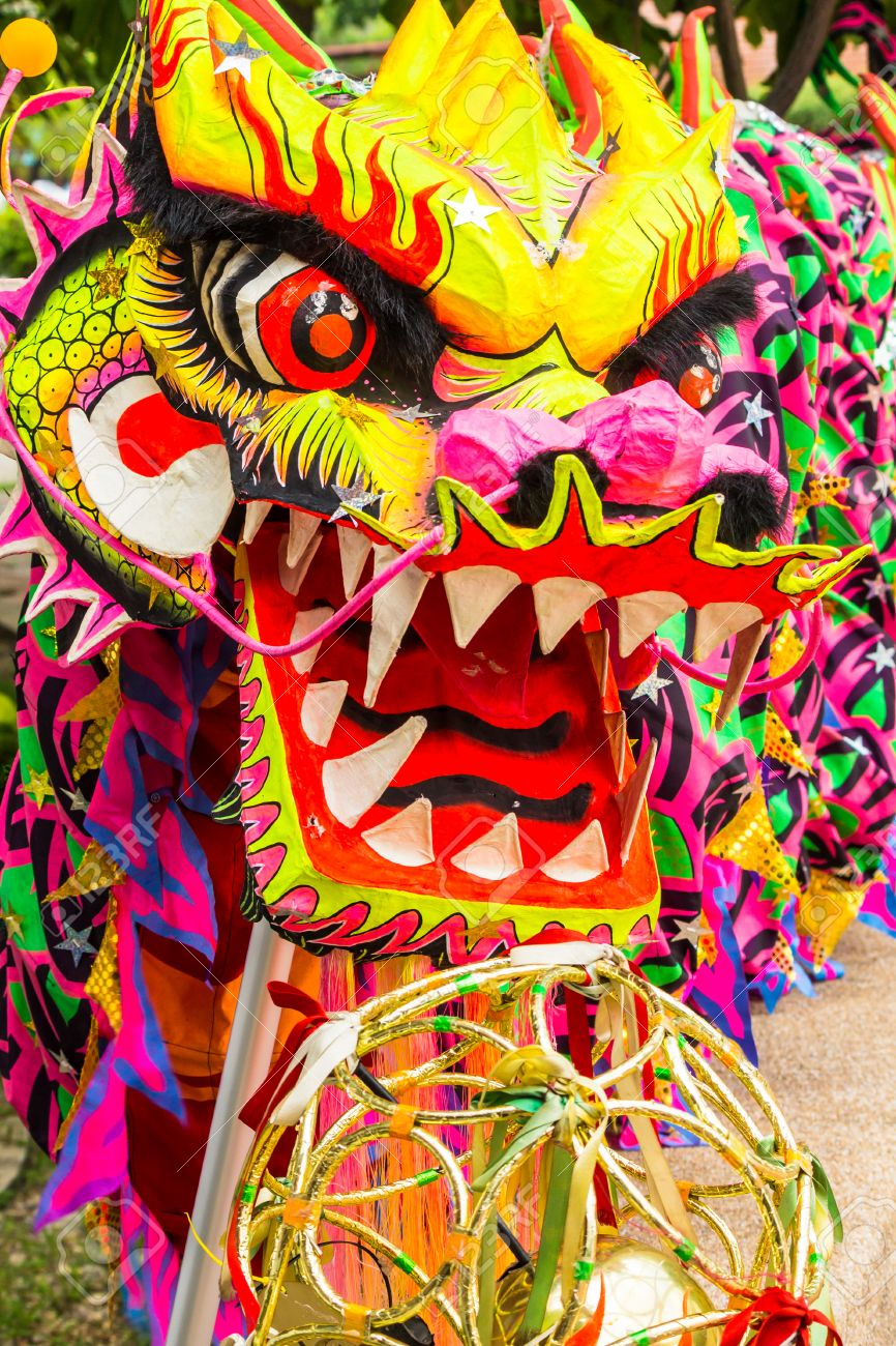 chinese dragon head pieces used in dances for traditional