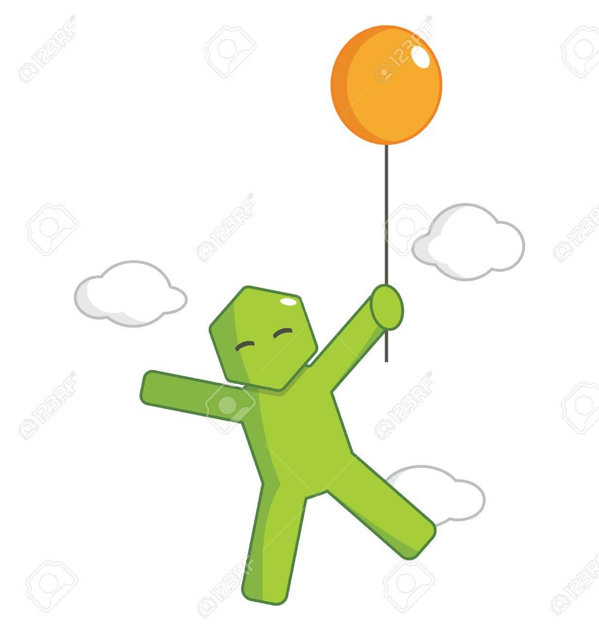 Hexagon Man - Flying By Balloon Stock Vector - 18530560