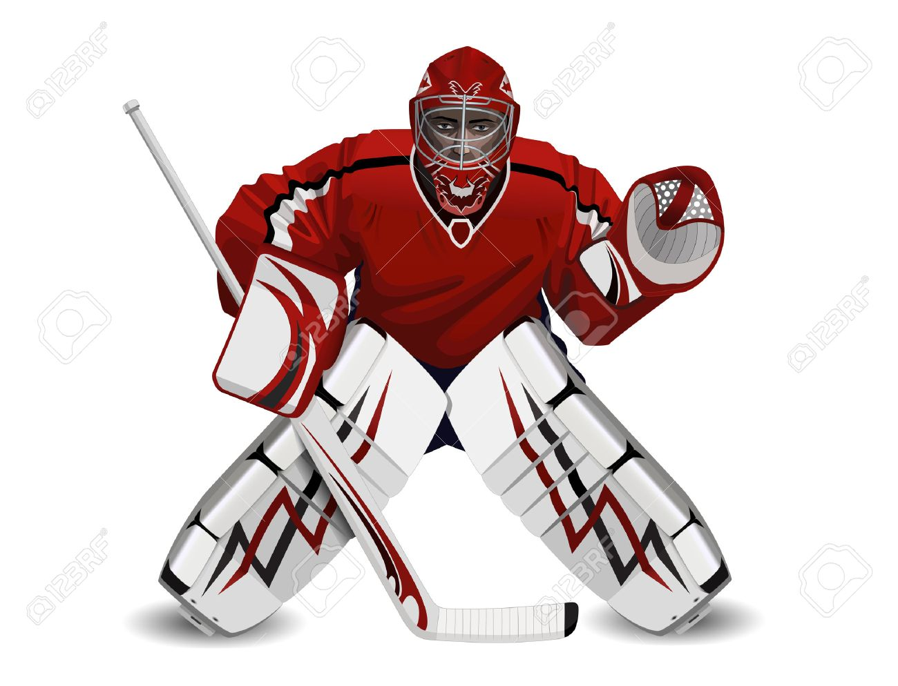 Vector Illustration Of Ice Hockey Goalie Royalty Free Cliparts