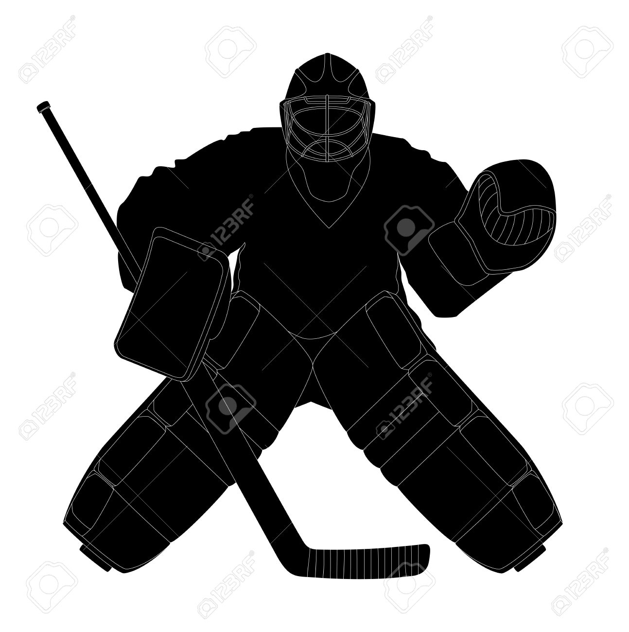 Vector Illustration Silhouette Hockey Goalie Royalty Free Cliparts