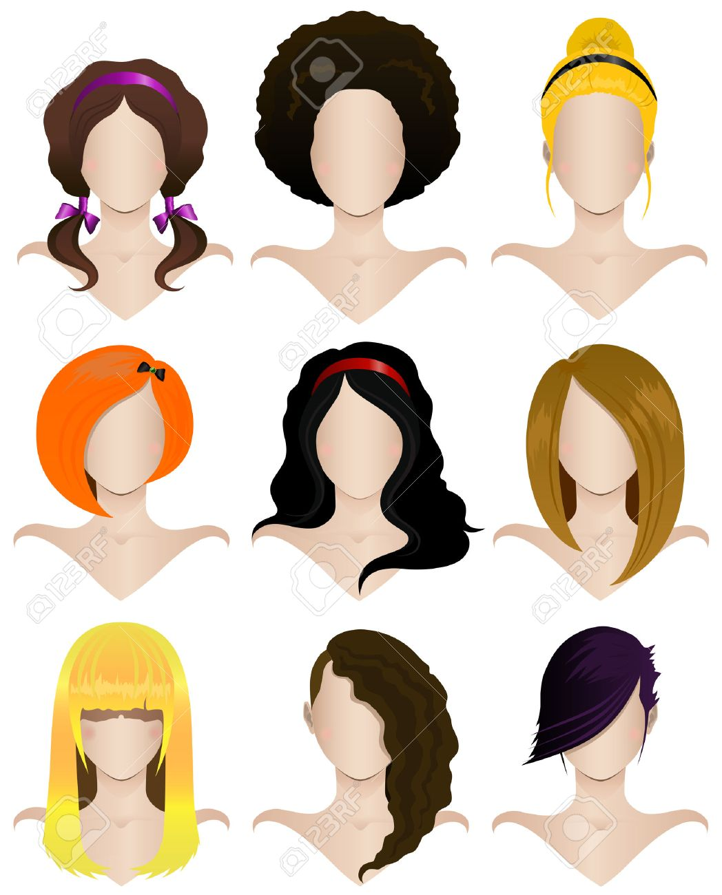 vector illustration of a set of nine women s hairstyles royalty free