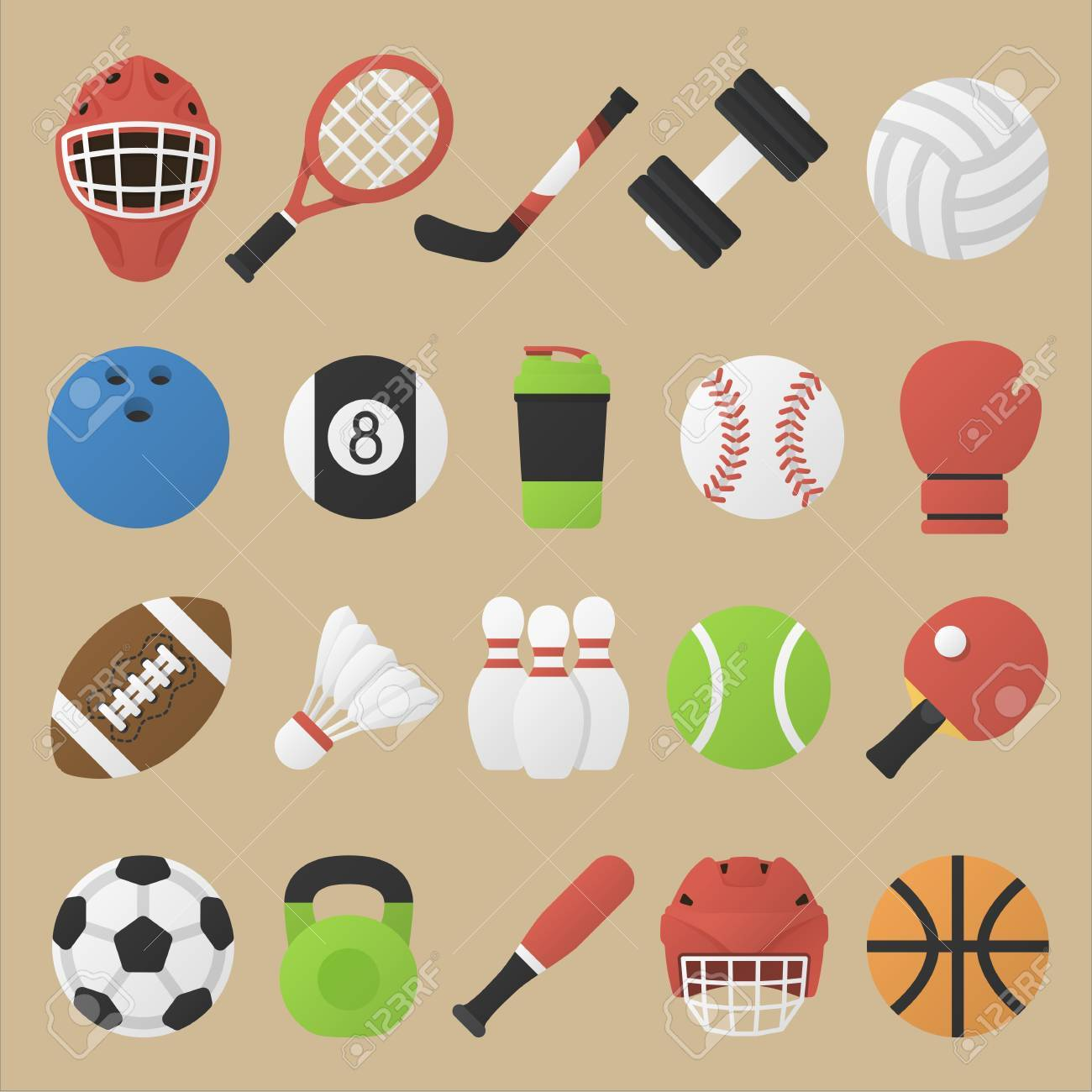 Illustration Set Of Sport Equipment In Flat Design Collection