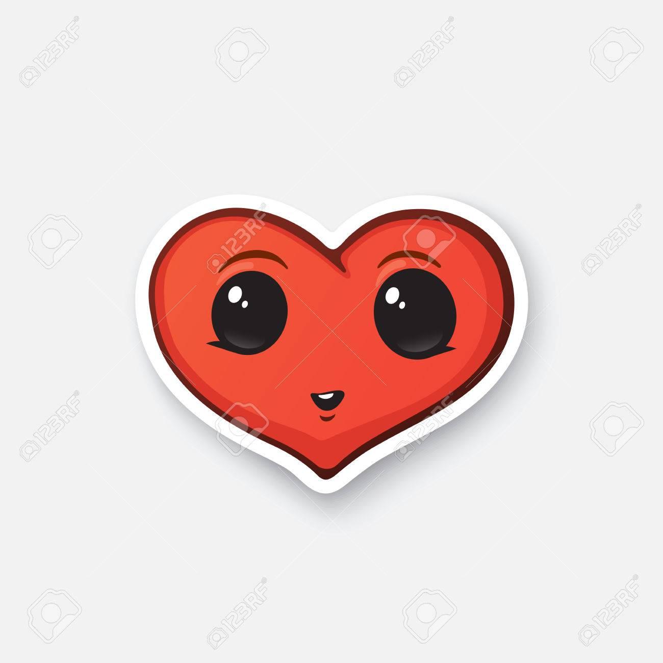 Ilustración Del Vector. Corazón Feliz Con Los Ojos. Símbolo Del Día ...