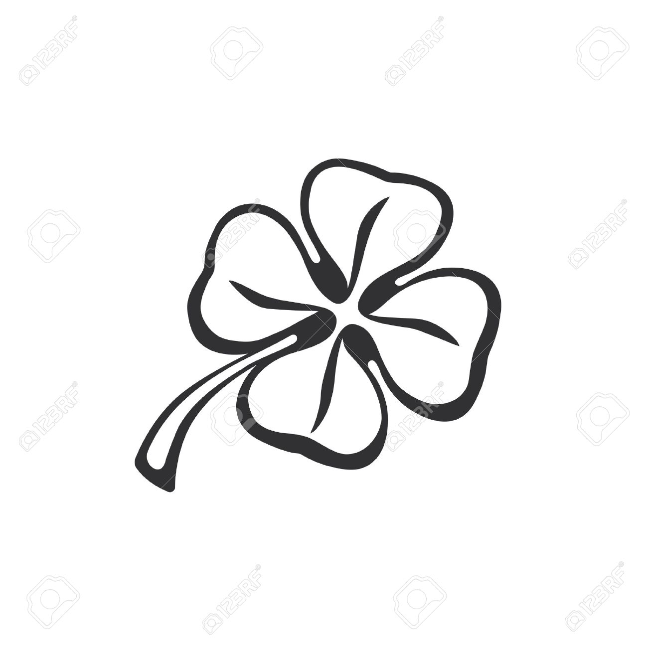 doodle of four leaf clover hand drawing doodle lucky quatrefoil