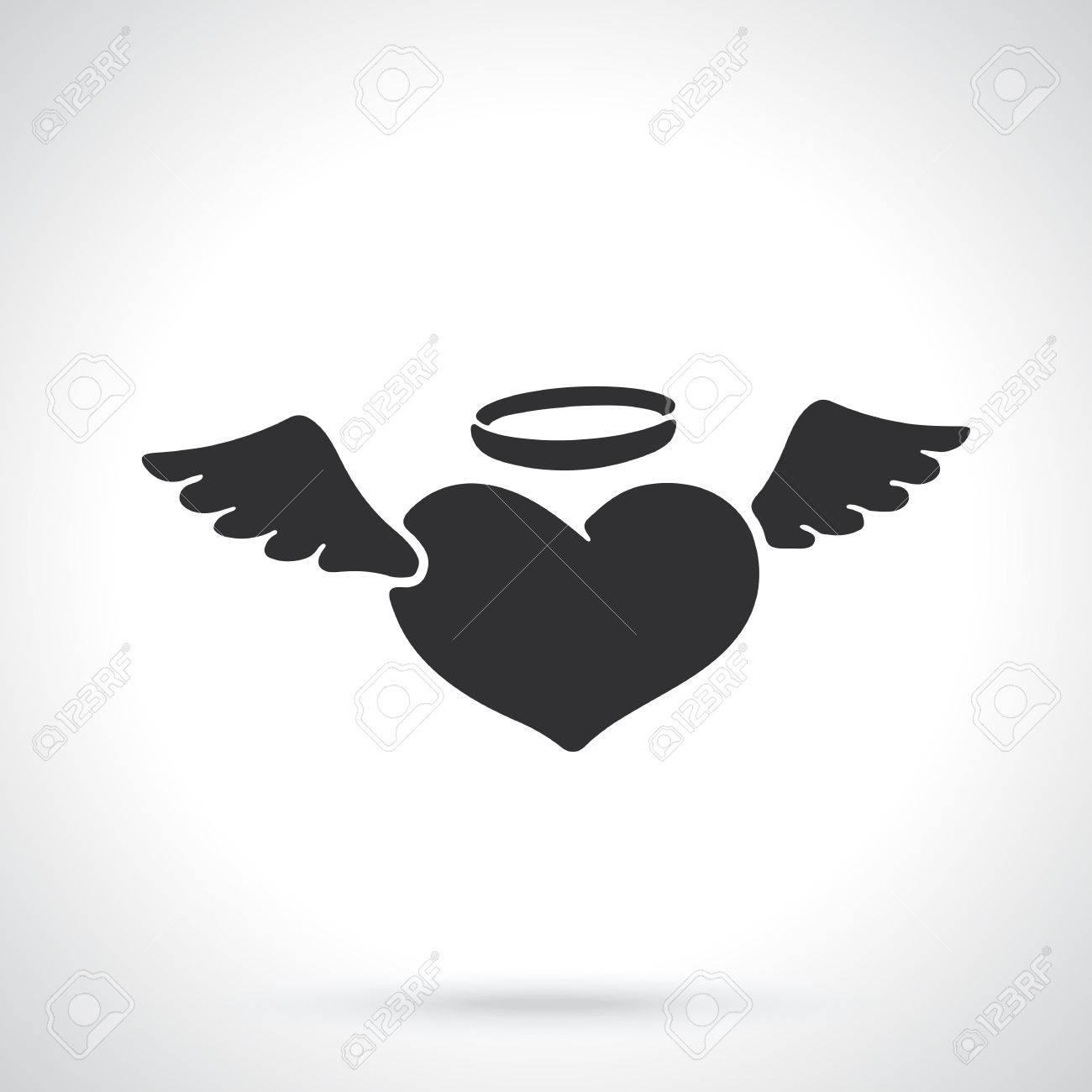 ベクトルの図 バレンタインの記号です エンジェル ハートの翼と光輪のシルエット テンプレートまたはパターン グリーティング カード 壁紙 エンブレムの装飾のイラスト素材 ベクタ Image 70027948