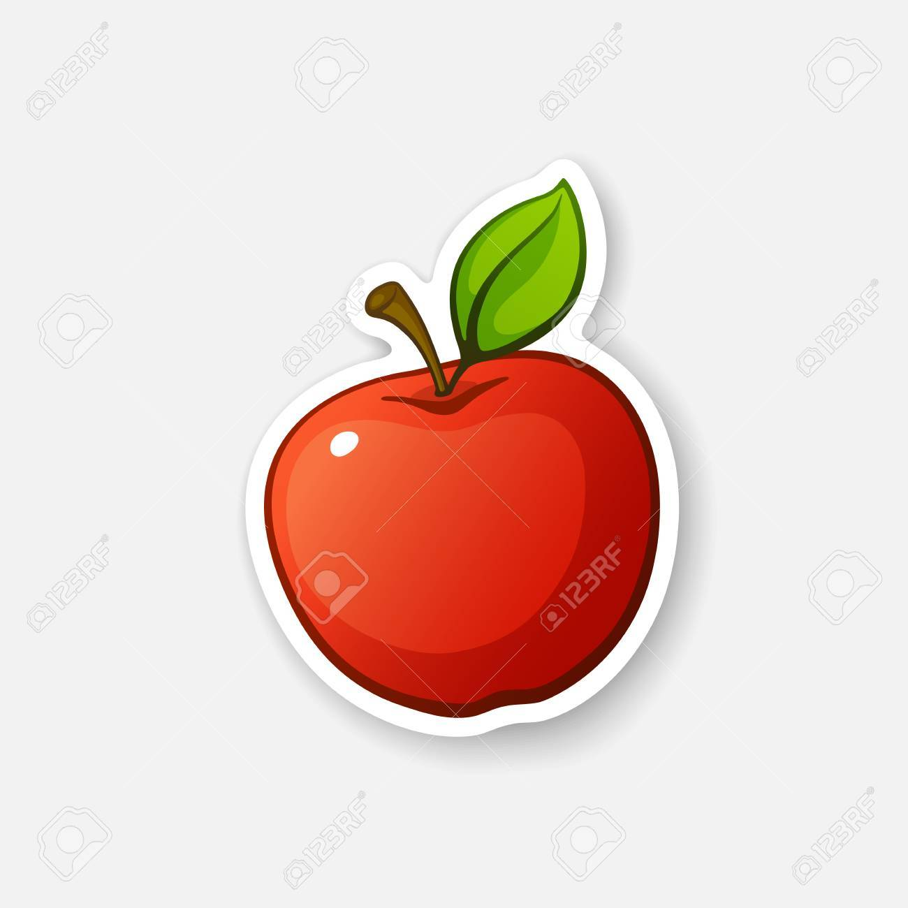 Vector illustration red apple with stem and leaf healthy red apple with stem and leaf healthy vegetarian food cartoon sticker in comics style with contour decoration for greeting cards posters patches m4hsunfo