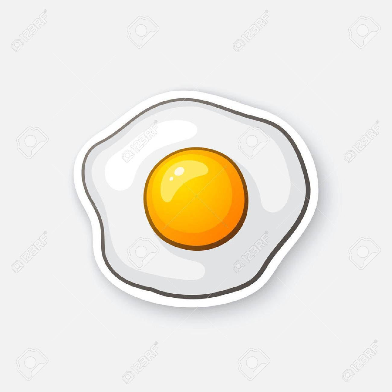 Vector illustration. One fried egg. Scrambled egg. Healthy food. Cartoon sticker in comic style with contour. Decoration for greeting cards, posters, patches, prints for clothes, emblems - 71093982