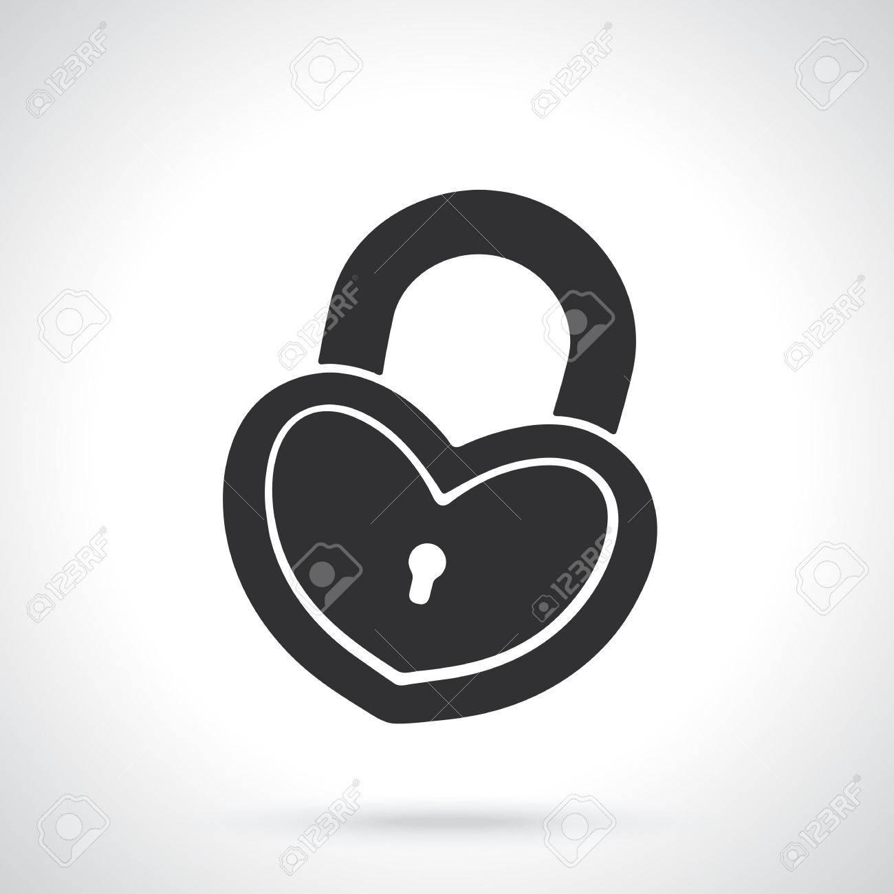 Vector Illustration Silhouette Of Padlock In Heart Shape Template
