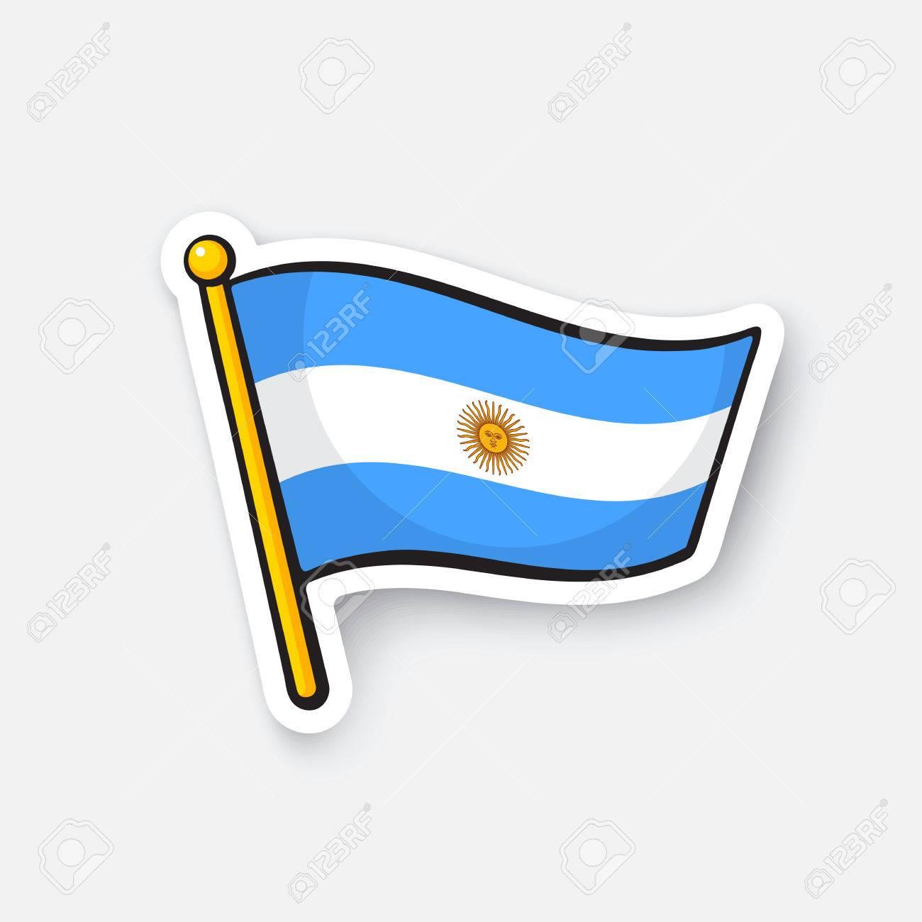 Ilustración Del Vector Bandera De Argentina En Flagstaff Símbolo De Ubicación Para Los Viajeros Etiqueta De Dibujos Animados Con El Contorno