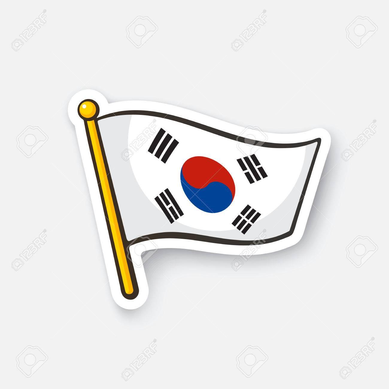 vector illustration flag of south korea on flagstaff checkpoint rh 123rf com korean flag vector ai korea flag vector download